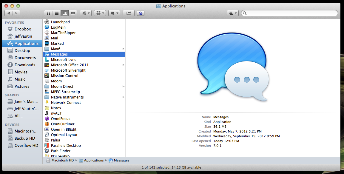 Messages lives in the Applications folder