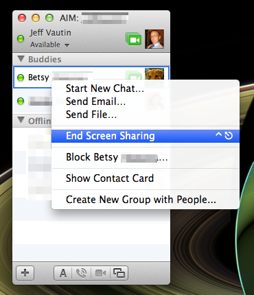 In the context menu, select End Screen Sharing