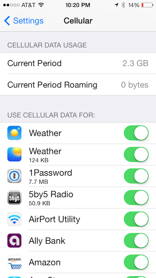 Scroll further down the Cellular screen to see data consumption.