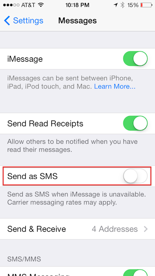 Don't let Messages send by SMS!