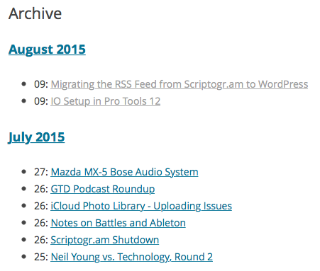 Screenshot of Archive Page without comment counts