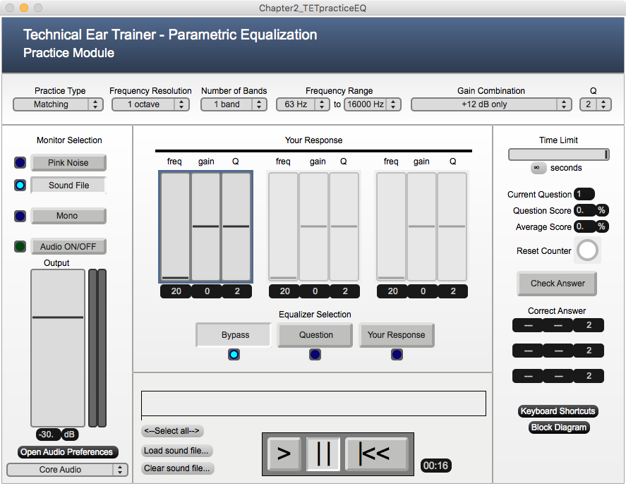 Parametric Equalization Module Screenshot
