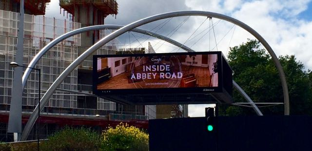 "Sign above Old Street Station labeled ""Google presents Inside Abbey Road"""
