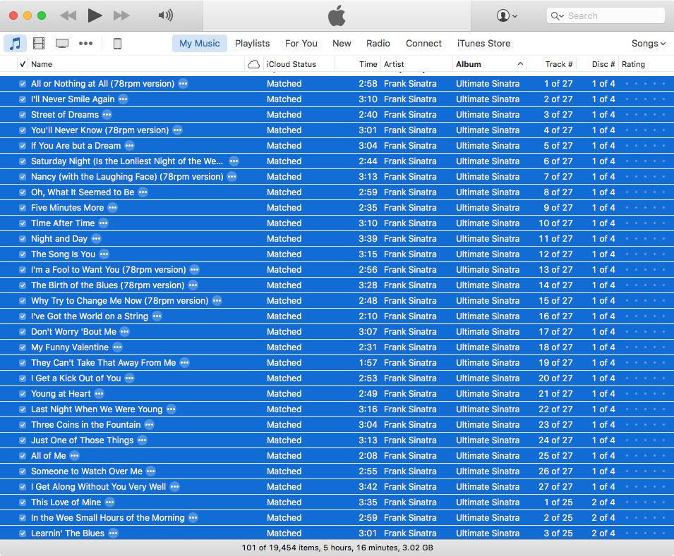 Frank Sinatra's *Ultimate Sinatra* in my iTunes library
