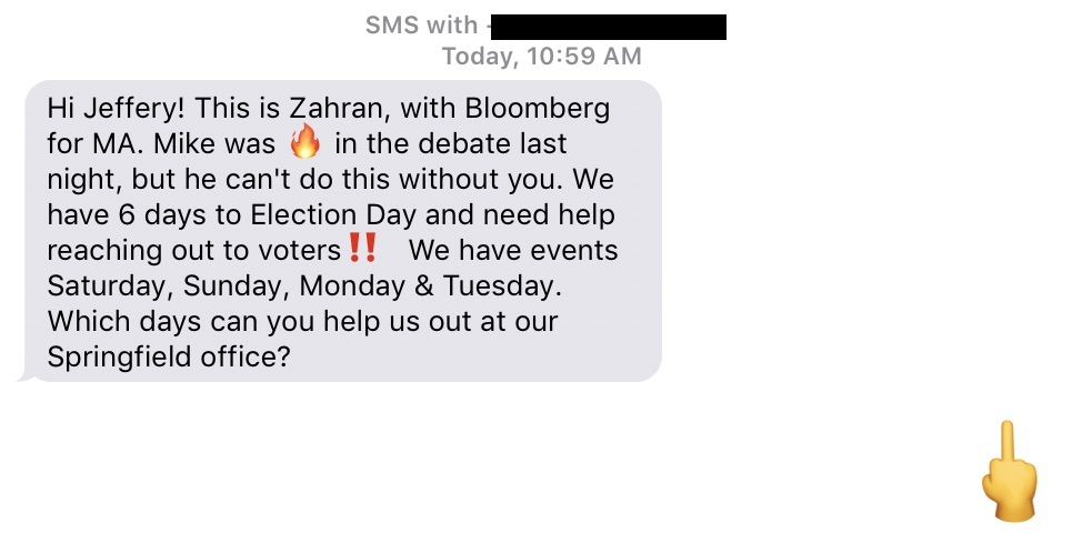 Solicitation from a Bloomberg volunteer, with a middle finger emoji response.